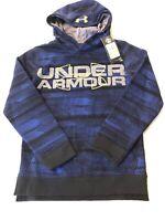 NWT Under Armour UA Long Sleeve Threadborne Big Logo Boys' Hoodie YMD Blue