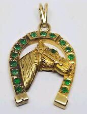 VINTAGE 18K COLUMBIAN EMERALD HANDCRAFTED HORSE BUST IN HORSESHOE PENDANT