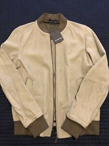 $4900 Ermenegildo Zegna - Gray Suede Bomber Jacket, 50