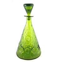 Vintage Blenko Decanter Green Glass Model # 6924 w/ Stopper Mid Century 1960s