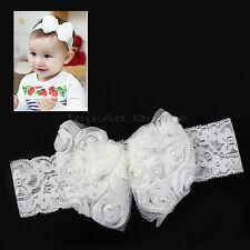Bandeau Bébé Fleur Cheveux  Fille Enfant Dentelle Perle Baptème Fete wh2n