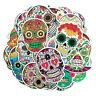 50PCS/Lot Sugar Skull Stickers Vinyl Roll Car Skateboard Laptop Luggage Decals