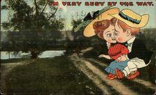 Wooded Road & Comic Romance Big Heads Caricature c1910 Postcard