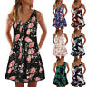 Women Floral A Line Mini Dress Sleeveless Casual Summer Tank Sundress Plus Size