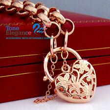 18k rose gold filled GF padlock heart belcher ladies bangle bracelet