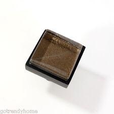 Metallic Brown Crystal Glass Cabinet Black Metal Knob Drawer Pull Square Modern