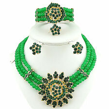 Green 3 layers African Beads Necklace Earring bracelet ring Jewellery Set
