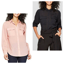 A New Day Women's Long Sleeve Button Down Utility Shirt 545757 ~ Black or Blush