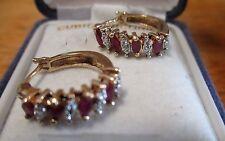 10k gold Diamond Sapphire ruby Hoop Earrings supper Dominican republic