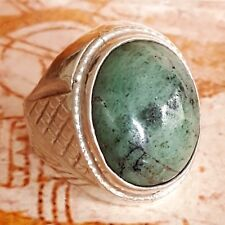solid mens ring 925 sterling silver natural yemen natural green jade handmade