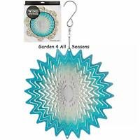 "6""/15cm BLUE WHIRL Stainless Steel Wind Spinner Sun Catcher Hook Garden Gift Pk"