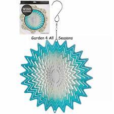 """6""""/15cm BLUE WHIRL Stainless Steel Wind Spinner Sun Catcher Hook Garden Gift Pk"""