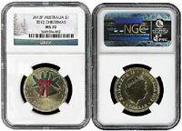 2012 P Australia $1 Bronze Christmas Coin NGC MS70 Christmas Label