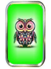 GREEN OWL 1oz GOLD TOBACCO TIN,PILLTIN,STASH CAN,BACCY TIN,POCKET TIN