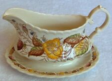 Vernon Kilns Vernon Rose handpainted gravyboat w/underplt~floral transfer print