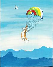8X10 Folk Art Print Of Painting Ryta Pembroke Welsh Corgi Whimsical Rainbow Sky