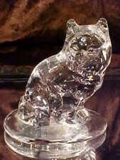 BEAUTIFUL HANDMADE Art Glass CRYSTAL CAT Figurine Statue by Viking GREAT DETAIL!