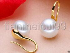 Genuine Natural 6-7mm White Akoya Freshwater Pearl 14k Solid Gold Earrings