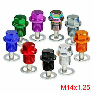 1X Anodized Engine Magnetic Oil Pan Drain Plug Bolt Kit Washer M14x1.25MM Screw