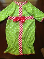 Laura Dare SANTA DOTS PRESENT SACQUE Infant Baby Girl Christmas Nightgown Green