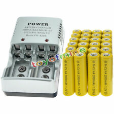 24 AA Rechargeable Batteries NiCd 2800mAh 1.2v Solar Light Lamps + us Charger