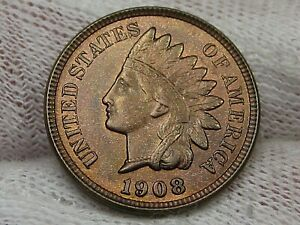 UNC Red/Brown 1908 Indian Head Penny.  #46