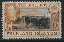 Falkland Islands 1938 KGVI 10/ orange brown & black lightly used
