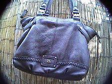 Large the sak hand bag purse tote shoulder bag black leather silver hardware