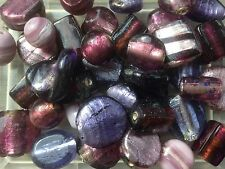 8-18mm assorted purple foiled lampwork glass beads - 100g pack (20 beads)