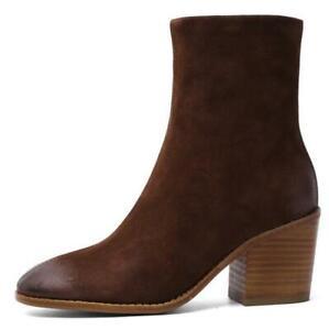 Women Winter Autumn Block Heel Retro Suede Leather Zip Up Round Toe Ankle Boots