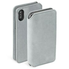 Krusell iPhone XS Max BROBY Suede Leather Booklet 4 Card Wallet Case Cover Grey