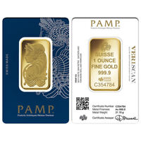 Lot of 2 - 1 oz Gold Bar PAMP Suisse Lady Fortuna Veriscan .9999 Fine (In Assay)