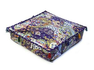 """35 x 35"""" Purple Square Cushion Cover Indian Handmade Cotton Kantha Pillow Case"""