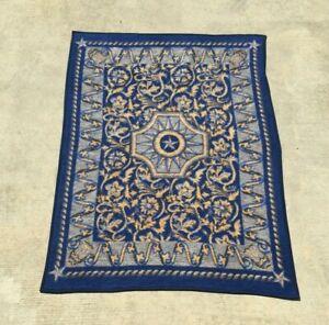 Biederlack Blanket Blue Brown Star Flowers Acrylic Polyester