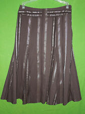 Marks & Spencer Per Una  women cotton blend brown mid-calf skirt size 10 /12 UK