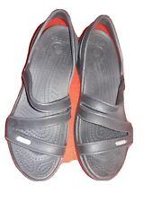 Crocs Womens 8 w Sandals Wedge Heels Black Sling Back Comfort Strappy Excellent!