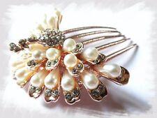 Boda nupcial flor de Pavo Real Estrás Perlas De Horquilla Diamante Peine de Cabello Clip
