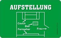Aufstellung Couch TV Bier Frau Resopal Brettchen Grösse 14,2x23,3