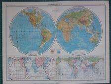 1952 Mappa di grandi dimensioni ~ mondo occidentale & Emisfero Orientale variazione magnetica Maree