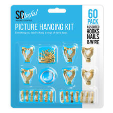 60 Pack Picture Hanging Kit Hooks & Nails Set Single Double Picture Frame Wire