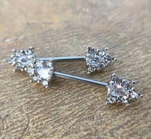 Pair of Diamond Nipple Rings 14K White Gold Over Barbell,Nipple Ring 14 G / 1.6
