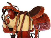 TRAIL SADDLE WESTERN BARREL RACING HORSE PLEASURE FLORAL TOOLED LEATHER 15 16