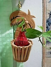 """Coconut Tree Vase Holder Hanging Wooden Handcraft Wall Decor with Hook 12""""x5"""""""