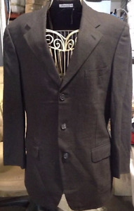 Belvest Brown/Blue Striped Super 120s Wool Three Button Suit
