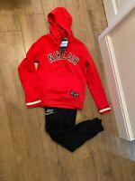 Nike Boys Med  Red Hoodie Sweatshirt With Tech Fleece Bottoms Size Med RRP £99