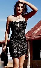 Free People Catalina Bodycon Cutouts Strapless Slit Front Lace Mini Dress $300