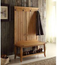 Entryway Furniture Santa Fe Antique Pine Hall Tree Seating Storage 4 Hooks Shelf