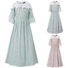SD 3pcs / Juego Infantil Niña Estampado Floral A Línea Vestido Vintage Maxi
