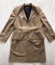 Louis Feraud Wool Pinstripe A Line Skirt Suit Tan Camel Hook Eye Closure Work 16