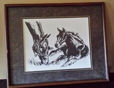 "Vintage Charcoal Horses Grazing Drawing Picture Matted Framed 21"" x 17"""